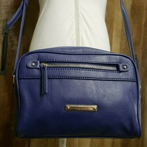 Nine West Blue Faux Pebbled Leather Crossbody Bag